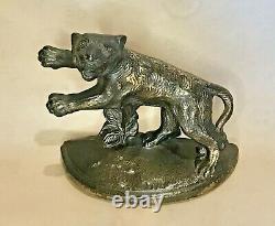 Très Rare Antique Hubley Charging Tigres, Big Cats, Felines Bookends
