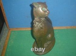 Très Rare Nestor Vintage Art Déco Cast Iron Glass Eyes Cat Companion Set 15