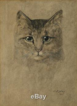 Une Kabos Aquarelle Signée Portrait D'un Chat Noir 1947 Vintage