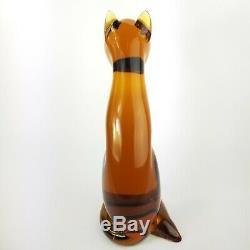 Verre Art Soufflé De Murano Main Chat Figurine Sculpture Avec L'original Autocollant