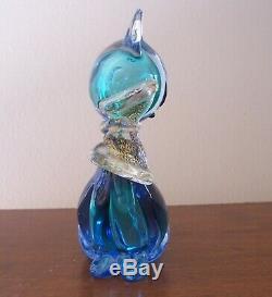 Verre Vintage Murano Siamois Chat Blue Gold Bow 6 1/4 Pouces Hauteur Qualité Musée