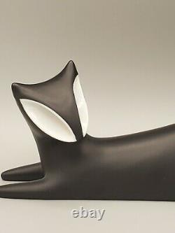 Vgt 60's Royal Dux Liting Cat Par Jaroslav Jezek Beautifulabstract Art Deco Cat