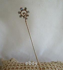 Victorian Antique Art Déco Chat Eye Moonstone Shepard Crochet Swirl 10k Chapeau Épingle 6