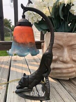 Vieille Lampe De Chat En Bronze Avec Les Yeux Brillants Conversation Pièce Art Déco