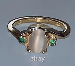 Vintage 14k Yg Moonstone + Emerald Ring Sz 6.5 Chats Eye Glow Art Deco Retro