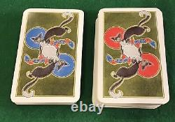 Vintage 1930s Art Deco Saks Cinquième Ave 2 Sets Dondorf Cartes À Jouer Wow Black Cat
