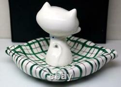 Vintage 1959 Holt Howard Pottery Cute Cat Ashtray 12cm X 12cm Nos