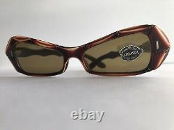 Vintage 40s 50s Faux Bamboo Sunglasses Cat Eye Pinup Lunettes Hawaiian Brown