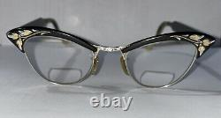 Vintage 50-60's Cat Eye Glass Gold Plated American Optical Gravé