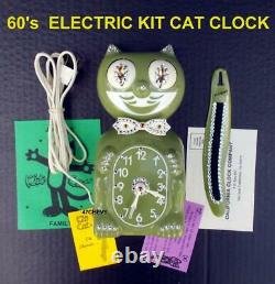 Vintage 60's-electric-avocado Kit Cat Klock-kat Clock-original Motor Rebuilt-usa
