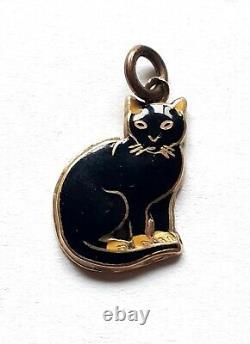 Vintage Art Déco 14k Noir Émaillé Kitty Assise Cat Charm 1.3g
