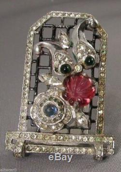 Vintage Art Déco Bijoux Fourrure Clip Figural Broche Cat Pin 1930 Rare