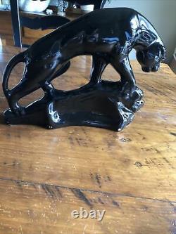 Vintage Art Déco Black Panther Big Cat Statue En Céramique Figurine