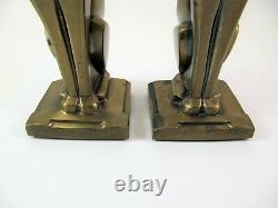 Vintage Art Déco Bronze Ton Égyptien Siamese Cat Bookends