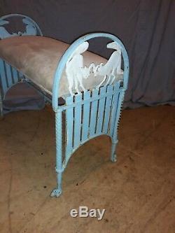 Vintage Art Déco Cat Fonte Widow Ou Banc Vanity