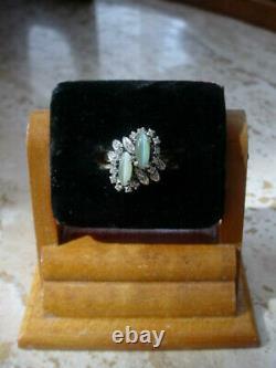 Vintage Art Déco Cat's Eye Chrysoberyl Diamond Ring 18k Or Blanc