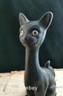 Vintage Art Deco Chalkware Cat, Grande Nouveauté Cat Figurine