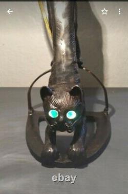 Vintage Art Déco Chat Noir Avec Lampe Aux Yeux Verts
