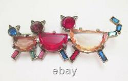 Vintage Art Déco Czech 3 Cats Pin Brooch Ouvrir Le Dos Verre Strass Multi Couleur
