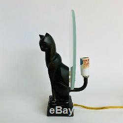 Vintage Art Déco Métal Coulé Cat Figure Figural Table Lampe Frankart Style
