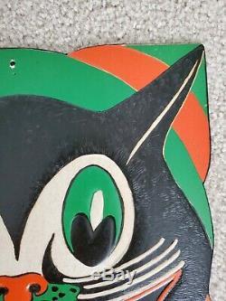 Vintage Beistle Halloween Poinçonné Art Déco Visage De Chat Début Des Années 1930 Couleurs Étonnantes