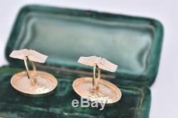 Vintage Boutons De Manchettes En Or 14 Carats Avec Un Oeil D'art Déco Chats Insert # 13.68g G244