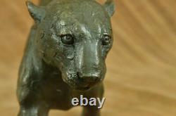 Vintage Bronze Art Déco Cat Sculptures Sur Plinth Après Rembrandt Bugatti Figure