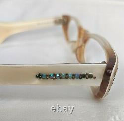 Vintage Cat Eyeglass Half Frames Swank Cream France 1950s Lunettes Ailés