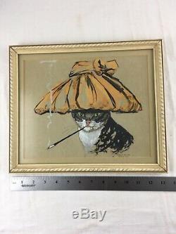 Vintage Chats Meow Glamorous Smoking Cat Retro Art Déco MCM 11x13 Encadrée