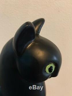 Vintage Classique Royal Haeger En Céramique Satinée Black Cat Avec Green Eye MCM Art Déco