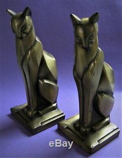 Vintage Cubiste Deco Frankart Ère Égyptienne Cat Bookends