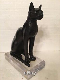 Vintage Exotique Chat Égyptien Bastet Déesse Sculpture Statue Sur Lucite Base 15