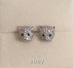 Vintage Jewellery Panther Leopard Big Cat Boucles D'oreilles Antique Deco Dress Bijoux
