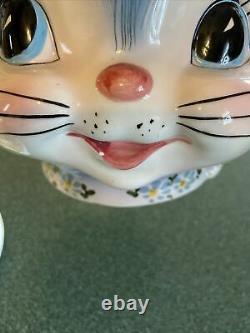 Vintage Lefton Miss Priss Cookie Jar Cat #1502 Avec LID