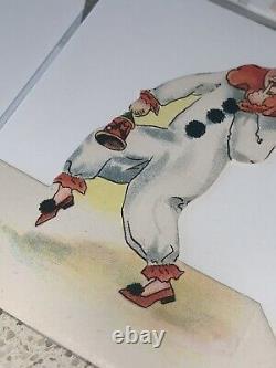 Vintage Lot De 7 Halloween Die Cut Lieu Carte D'art Déco Clown Lanterne Chat Noir