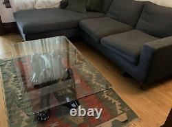 Vintage MCM Art Deco Black Panther Coffee End Table With Heavy Beveled Glass