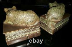 Vintage MID Century Cats Matching Bookends Set Art Déco Composite 5