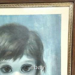 Vintage Margaret Keane 1961 Big Eyes Une Fille Et Son Chat Encadré Litho Print