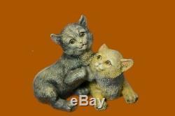 Vintage Old Bronze Signé Figure Bergman Cats Art-déco Deux Cat Sculpture Affaire
