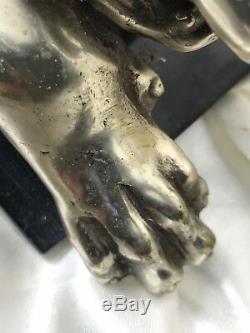 Vintage Style Art Déco Argent Bronze Cheetah Animal Sauvage Chat Marbre Statue De Base