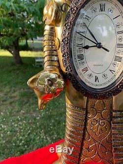 Vintage Unique Or Egypte Bastet Bicéphale Kitten Cat Mantle Plateau Horloge M17
