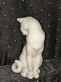 Vintage Wien/vienne/autriche-augarten, Porcelaine, Blanc Cat Figurine Cou
