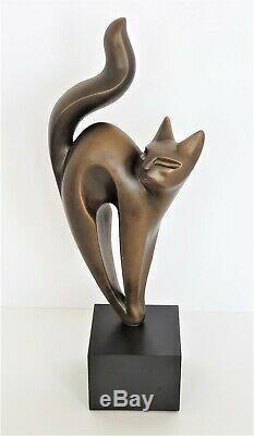 Vntg Austin Productions Moderniste Bronze Sculpture Cat Tone Signée Daté Tn-o Euc