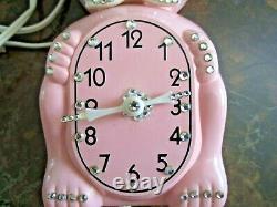 Vtg 60s Jeweled Strass Pink Kit Cat Klock Horloge Murale Électrique Travaux Pas De Queue