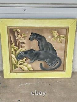 Vtg Airbrush Painting Peters Cadre Original