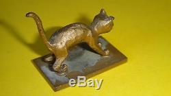 Vtg Art Déco Bronze Cat Miniature Statue Israël Aharon Bezalel Bier