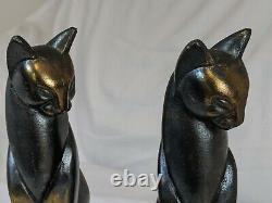 Vtg Frankart Art Déco Siamese Cat Bookends Spelter Metal Cubist Sculpture Des Années 1930