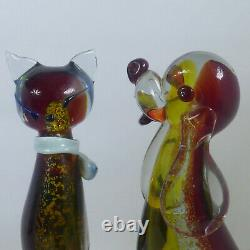 Vtg Murano Glass Dog & Cat Scultures Hand Blown Large Glass Animals 9.5 Grand