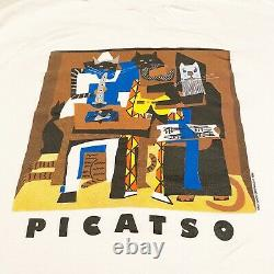 Vtg Picasso Parody Picatso Art Tee T-shirt Trois Musiciens Chats Hanes Beefy XL