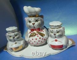 Vtg Potterie Russie Gardner Verbilky Cats Figural Sel Poivre Shaker Bac De Bouteille